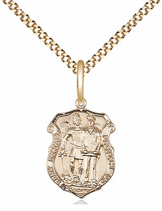 Bliss 14kt Gold-filled Small St Michael the Archangel Police Shield Medal Pendant Necklace