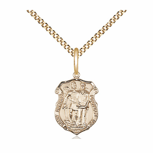 Bliss 14kt Gold-filled Small St Michael Police Shield Medal Pendant Necklace