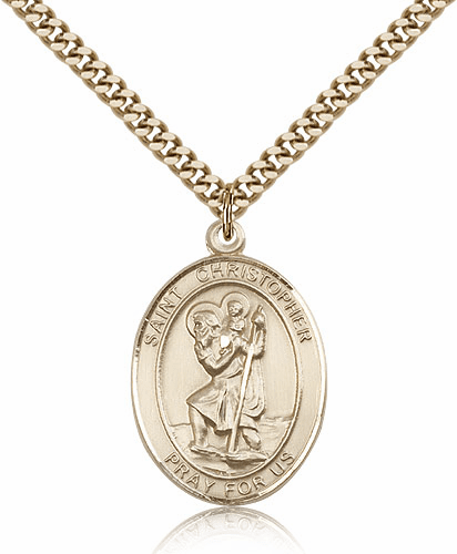Bliss 14kt Gold Filled St Christopher Patron Saint Medal Necklace
