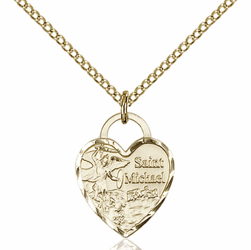 Bliss 14kt Gold-filled St Michael Heart Pendant Necklace