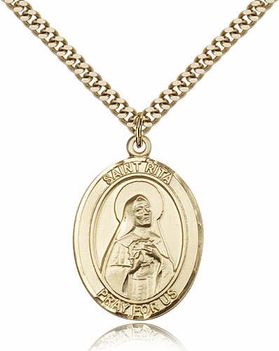 Bliss 14kt Gold Filled St Rita of Cascia Pendant Necklace