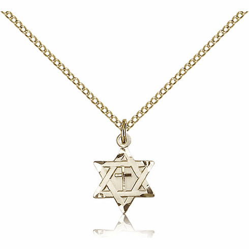Bliss 14kt Gold-filled Star of David w/ Cross Pendant Necklace