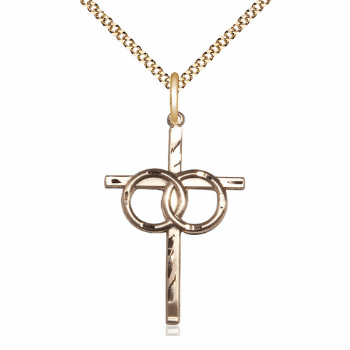 Bliss 14kt Gold-filled Two Ring Wedding Cross Medal Pendant Necklace