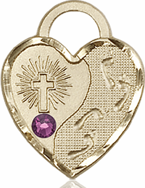 Bliss 14kt Gold Footprints Heart February Amethyst Birthstone Necklace