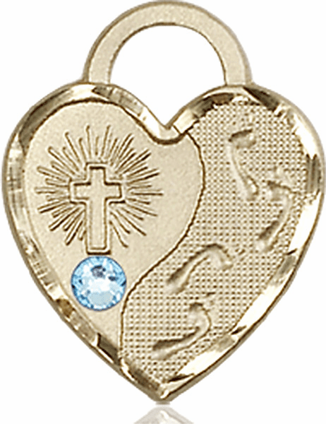 Bliss 14kt Gold Footprints Heart March Aqua Birthstone Necklace