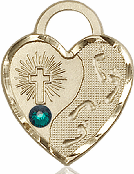 Bliss 14kt Gold Footprints Heart May Emerald Birthstone Necklace