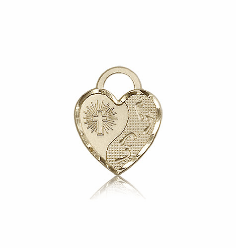 Bliss 14kt Gold Footprints Heart Medal Pendant