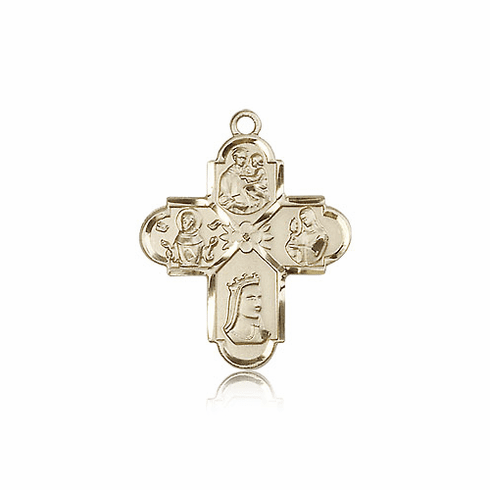 Bliss Manufacturing 14kt Gold Franciscan 4-Way Cross Medal