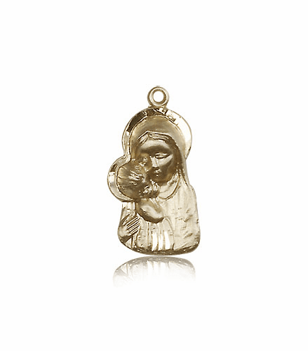 Bliss 14kt Gold Madonna & Child Medal Pendant