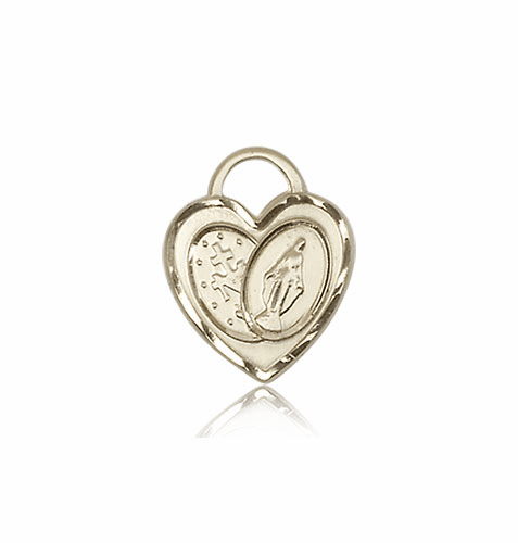Bliss 14kt Gold Miraculous Heart Medal Pendant