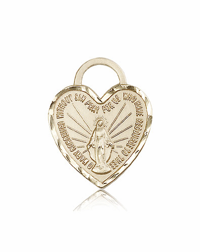 Bliss 14kt Gold Miraculous Heart Shape Medal Pendant
