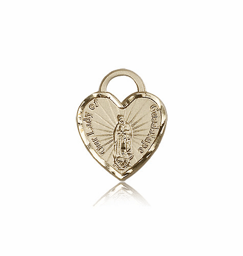 Bliss 14kt Gold Our Lady of Guadalupe Heart Medal