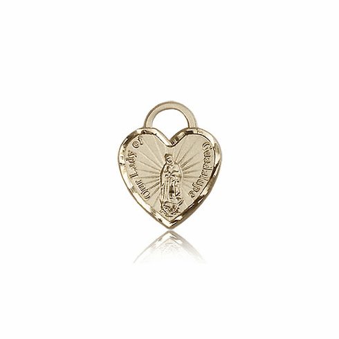 Bliss 14kt Gold Our Lady of Guadalupe Heart Medal Pendant