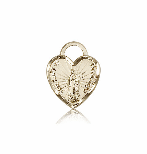 Bliss 14kt Gold Our Lady of Guadalupe Heart - Recuerdo Medal