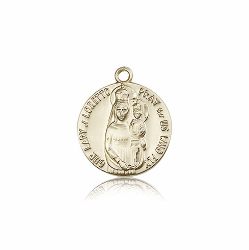 Bliss 14kt Gold Our Lady of Loretto Medal with Plane on Back