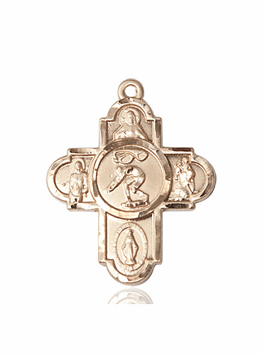 Bliss 14kt Gold Swimming 5-Way Cross Sport Medal