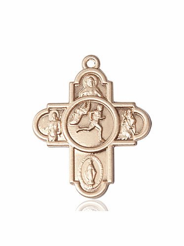 Bliss 14kt Gold Track & Field 5-Way Cross Sport Medal