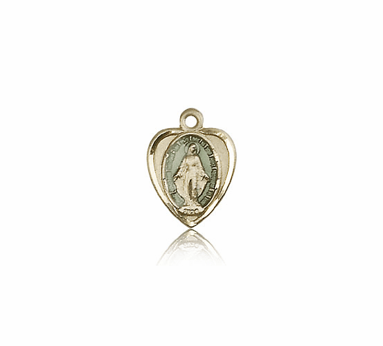 Bliss 14kt Solid Gold Blue Heart Shape Miraculous Medal Pendant Necklace