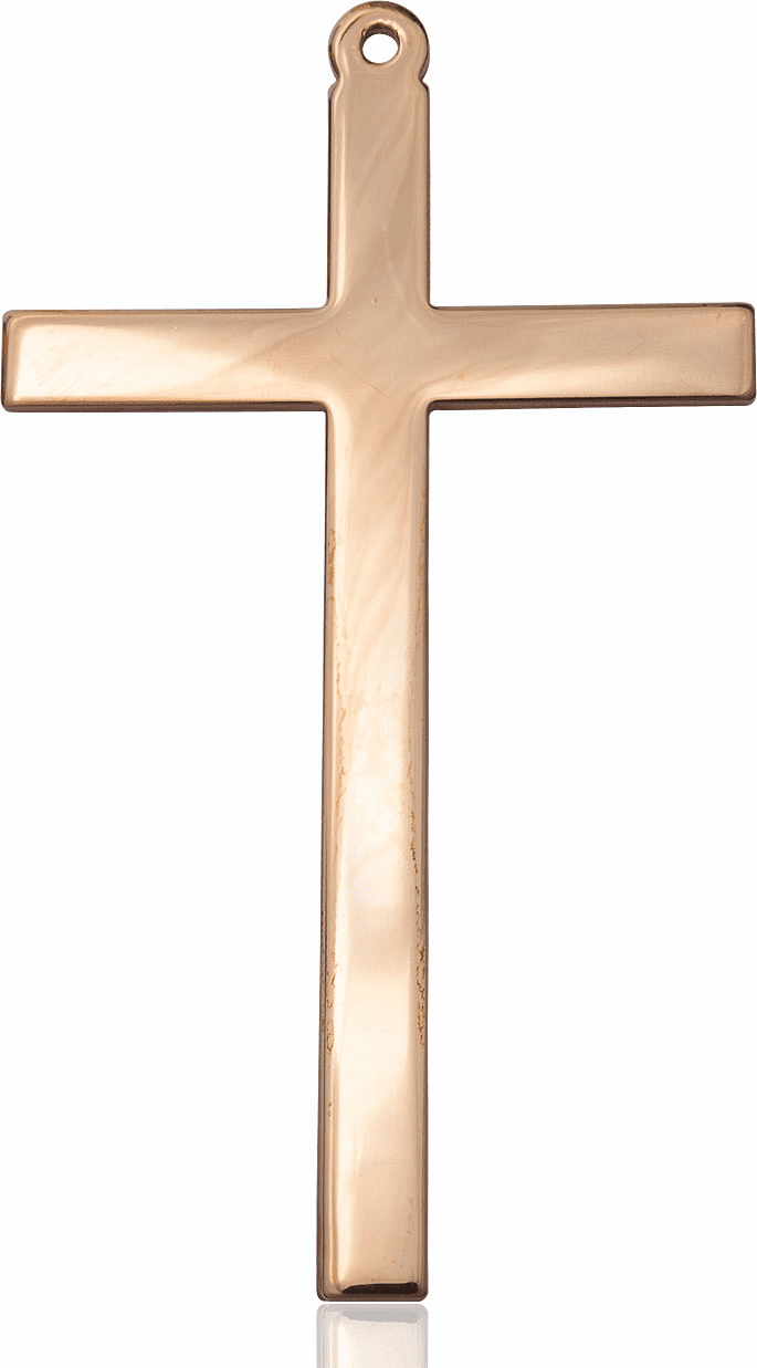 Bliss 14kt Solid Gold Christian Church Cross Medal Pendant Necklace