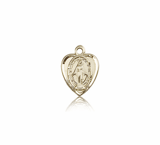 Bliss 14kt Solid Gold Heart Shape Miraculous Medal Pendant Necklace
