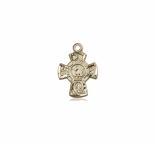 Bliss 14kt Solid Gold Holy Spirit 5-Way Cross Medal Pendant