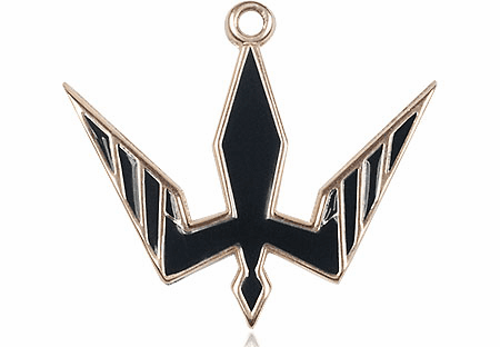 Bliss 14kt Solid Gold Holy Spirit Black Epoxy Pendant Necklace
