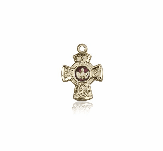 Bliss 14kt Solid Gold Holy Spirit Red 5-Way Cross Medal Pendant