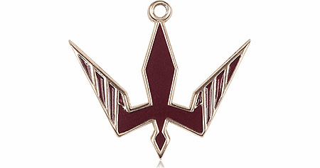 Bliss 14kt Solid Gold Holy Spirit Red Epoxy Pendant Necklace