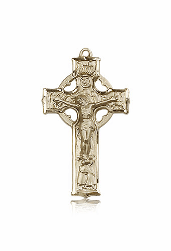 Bliss 14kt Solid Gold Irish Celtic Crucifix Cross Medal Medal Pendant Necklace