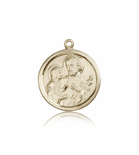 Bliss 14kt Solid Gold Round St Joseph Medal Pendant Necklace