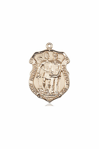 Bliss 14kt Solid Gold Small St Michael the Archangel Police Shield Medal Pendant Necklace