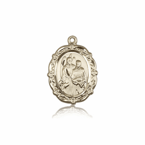 Bliss 14kt Solid Gold St Raphael the Archangel Medal Pendant Necklace