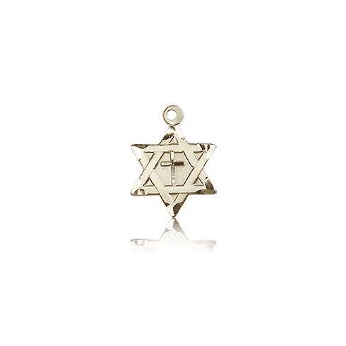 Bliss 14kt Solid Gold Star of David w/ Cross Pendant Necklace