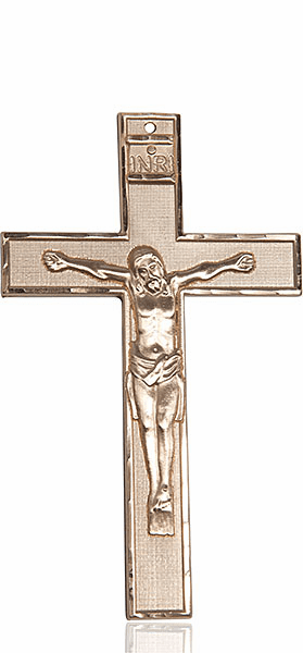 Bliss 14kt Solid Gold X-Large Crucifix Cross Medal Medal Pendant Necklace
