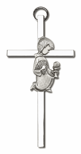 Bliss 4 inch Antique Silver Communion Girl Cross