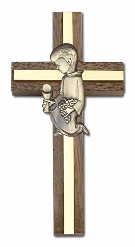 Bliss 4 inch Communion Boy Walnut w/ Antique Gold inlay Wall Cross