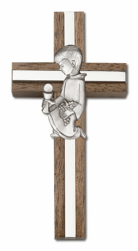 Bliss 4 inch Communion Boy Walnut w/ Antique Silver inlay Wall Cross