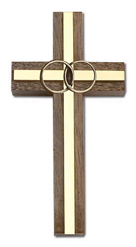 Bliss 4 inch Marriage Wedding Walnut w/ Antique Gold inlay Wall Cross