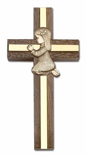 Bliss Engravable 4 inch Praying Girl Walnut w/ Antique Gold inlay Wall Cross