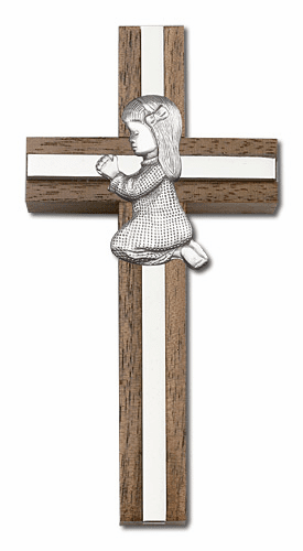 Bliss Engravable 4 inch Praying Girl Walnut w/ Antique Silver inlay Wall Cross
