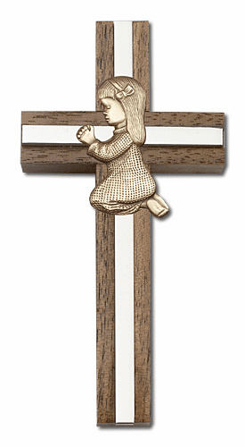Bliss Engravable 4 inch Walnut Wall Crosses and Crucifixes