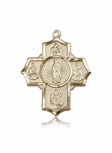 Bliss 5-Way Motherhood 14kt Gold Cross Medal