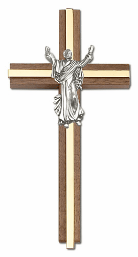 Bliss 6 inch Contemporary Risen Christ Walnut w/ Antique Silver inlay Wall Cross