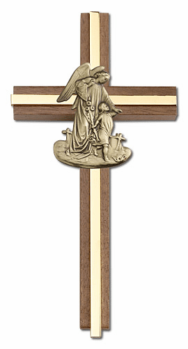 Bliss 6 inch Guardian Angel Walnut w/ Antique Gold inlay Wall Cross