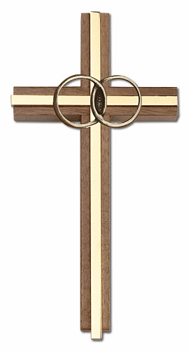 Bliss Engravable 6 inch Marriage Wedding Walnut w/ Antique Gold inlay Wall Cross
