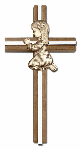 Bliss 6 inch Praying Girl Walnut w/ Antique Gold inlay Wall Cross