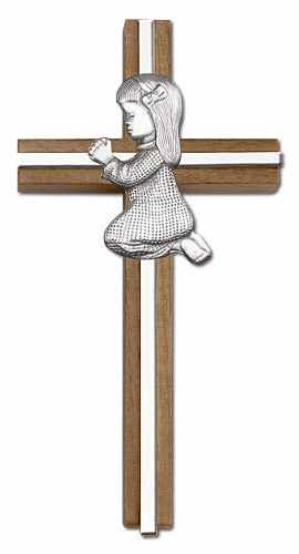 Bliss Engravable 6 inch Praying Girl Walnut w/ Antique Silver inlay Wall Cross
