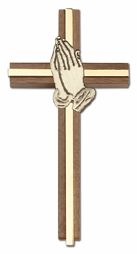 Bliss Engravable 6 inch Praying Hands Walnut w/ Antique Gold inlay Wall Cross