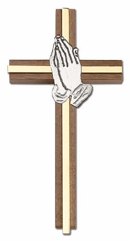 Bliss Engravable 6 inch Praying Hands Walnut w/ Antique Silver inlay Wall Cross