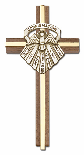 Bliss Engravable 6 inch Seven Gifts of the Holy Spirit Confirmation Walnut w/ Antique Gold inlay Wall Cross